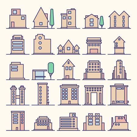Set of Modern Futuristic building icons outline. Minimalistic Line Icon