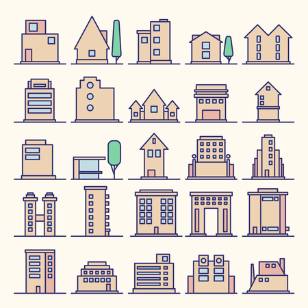 Set of Modern Futuristic building icons outline. Minimalistic Line Icon