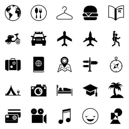 Transport and traveling icons for Web and Mobile App Illustration