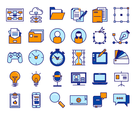 Outline vector icons for web and mobile. Thin 3 pixel stroke 320x270mm
