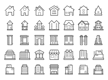 Homes and Buildings. Set of outline modern futuristic building icons