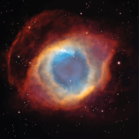 Vector Helix Nebula in the constellation Aquarius. Background with Night Sky and stars