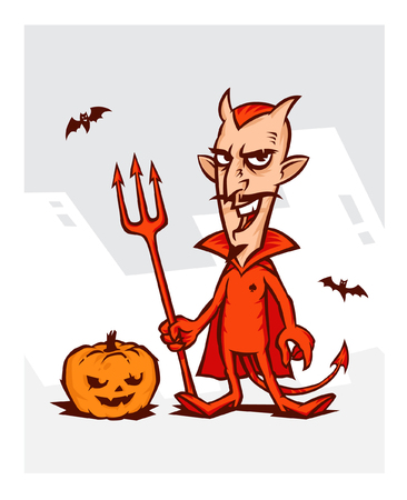 Illustration of the devil for the holiday of the Halloween. Devil in a red suit with a pumpkin on a white background. Illustration