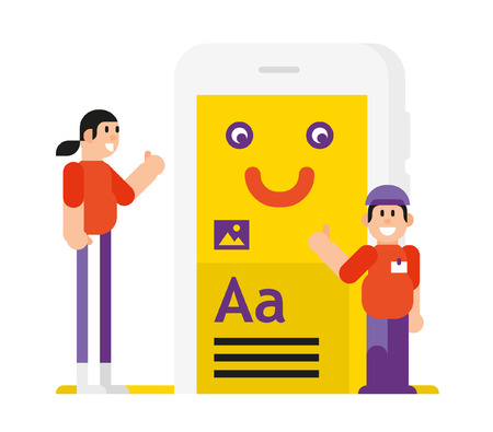 Icon in the style of the cartoon. Isolated object on white background. Vector illustration. Flat vector illustration. Characters design.   Developers and their product in the phone. The application for the phone.