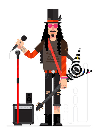 Rock star in flat technique isolated on white background. Musician with a guitar and a microphone sings. Illustration of a musician with a hat and tattoos. Character rock singer for layout design. Illustration
