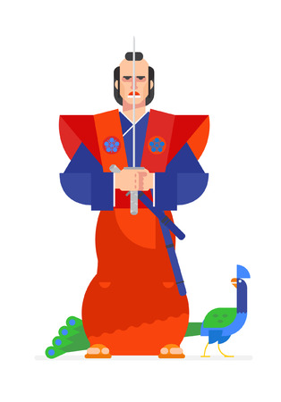 Illustration of samurai warrior character in an animated style. Vector illustration. Flat vector illustration. Characters design. Ilustração