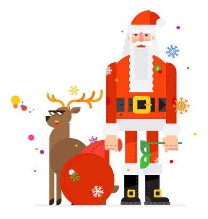 A flat illustration of Santa Claus and a deer. Vector image on white background. Santa Claus with a bag of gifts. Greeting picture for the postcard. Illustration