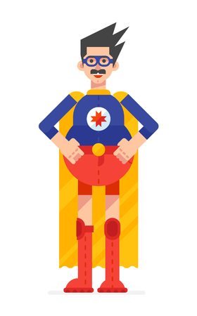 Super hero daddy in superhero costume. Hero in a yellow cloak, costume with glasses. Isolated object on white background.Vector illustration design.
