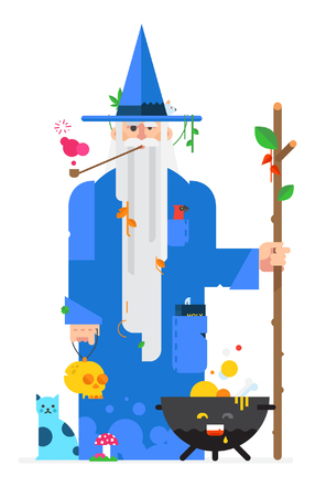 Druid in the style of the cartoon. Isolated object on white background. Vector illustration. Flat vector illustration. Characters design.