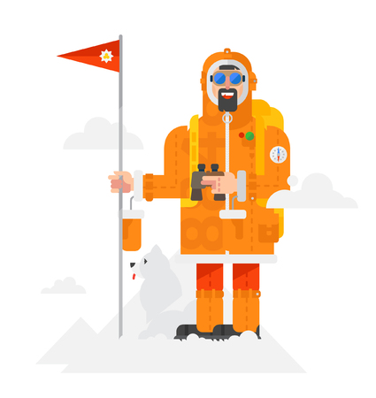 Illustration of a alpinist with a dog on a white background. Man with a flag vector flat design. Illustration