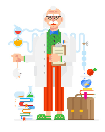 Scientist in the style of the cartoon. Isolated object on white background. Vector illustration. Flat vector illustration. Characters design. Illustration