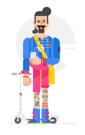 The cartoon hipster is painted in a flat style. Vector illustration isolated on white background. A man with a phone and a scooter. Character for printing and website. Company identity.
