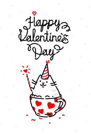 Vector illustration of a cat on a valentines day holiday. Image is isolated on a white background for printing, banner, website. Kitty in the cup congratulates, wishes happiness. Valentines Day, February 14.