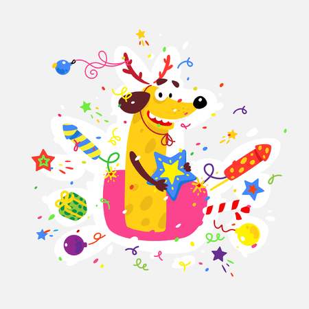 Yellow dog is the symbol of Chinese New Year. Vector flat illustration of a dog with crackers, fireworks, Bengal lights. The image is isolated from the background. The holiday mascot sticker.