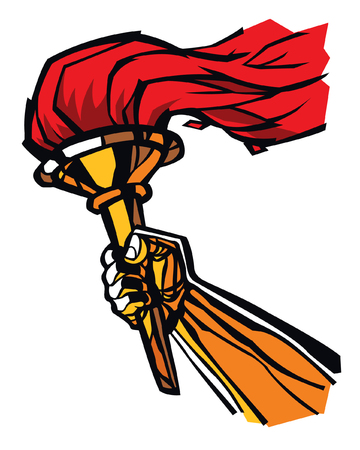Torch in hand, flat illustration. Vector flat illustration. Image is isolated on white background. Peaceful fire of freedom, equality and brotherhood. Victory in competitions.