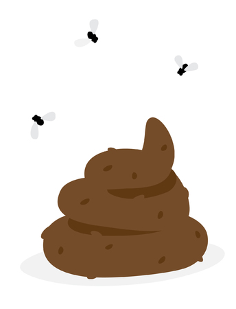 Vector illustration of a shit. The image is isolated from the background. Ready for print, badge, website, banner and messengers. Emoji sticker poo. Lovely heap of shit with flies.