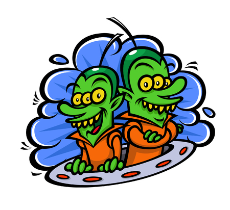 Funny aliens in a spaceship. Vector illustration in a flat style. Image is isolated on white background. Characters for printing, web and games.