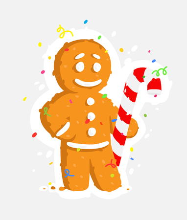 Gingerbread man with caramel cane. Vector illustration of a sticker. The image is isolated from the background. Ready for printing, web and messengers. A cute character is a mascot for the new year.