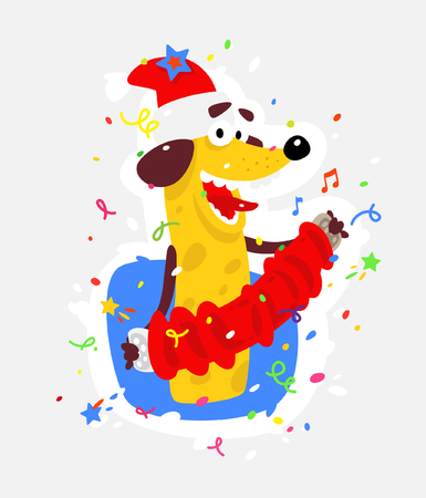 Yellow dog is the symbol of Chinese New Year. Vector flat illustration of a dog with an accordion. The image is isolated from the background. The holiday mascot sticker.