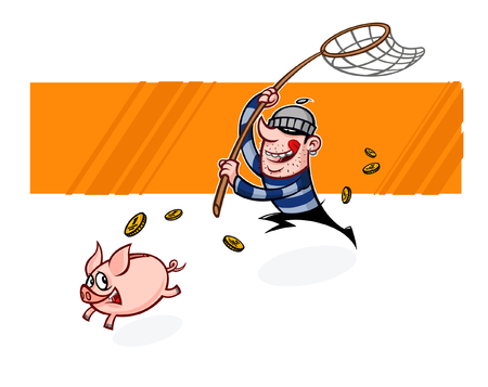 The thief runs after the piggy bank. Vector flat illustration of a pig and a burglar. Image is isolated on white background. Ready for printing, web and animation. Lovely characters are mascots.