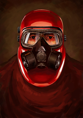 Illustration of post-apocalypse character. Stalker in the resperator. Concept in the technique of realism.