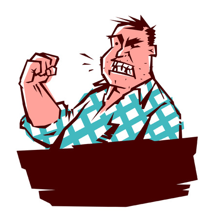 An evil man is threatening with his fist. Vector image in comic style. Flat illustration isolated on white background, ready for print and websites. Character for the label. Russian Internet meme.
