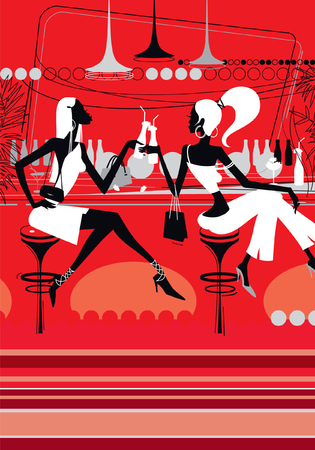 Two beautiful girls drink cocktails in a nightclub. Glamorous young women are sitting in a bar. Illustration for background. Image for printing, banner or website. Vector background. 向量圖像
