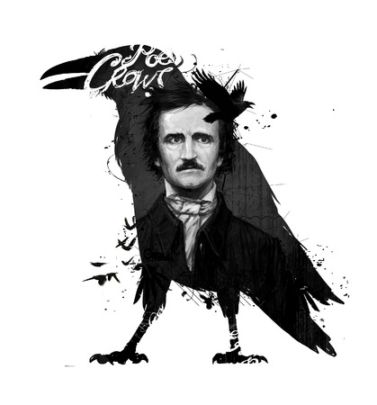 Edgar Allan Poe, drawing on isolated white background for print and web.Black and white composition and calligraphy for the interior. Painting graffiti on the wall. Design for a book or a collection of short stories. 스톡 콘텐츠
