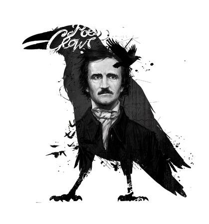 Edgar Allan Poe, desenho sobre fundo branco isolado para impressão e web. Preto e branco composição e caligrafia para o interior. Grafite de pintura na parede. Design para um livro ou uma coleção de contos.