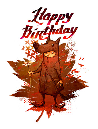 Happy birthday, illustration on white isolated background. Collage, drawing birthday greetings to you. A boy in a wolf suit congratulates on his birthday. The boy with the flower congratulates you.