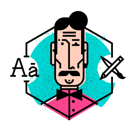 Ideal icon for your flashy design projects. Image is isolated on white background. Character in the cartoon style. Avatar of a young man in a vector. Flat style icons.