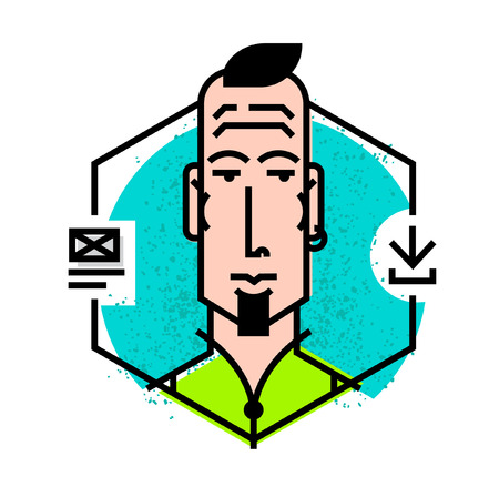 Ideal icon for your flashy design projects. Avatar of a young man in a vector. Flat style icons.