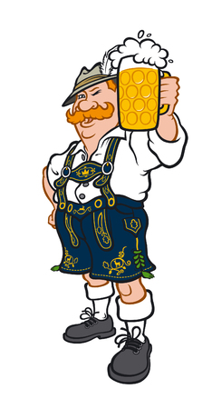 A German man in a national Bavarian costume. Vector illustration in a flat style. Image is isolated on white background. Company characters. Mascot for printing and website. Holiday Oktoberfest. Illustration
