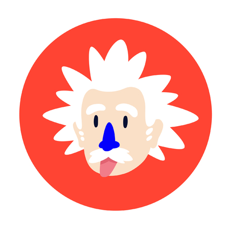 A mad scientist, a genius. Vector flat character for design projects. Image is isolated on white background. Icon of the character for advertising, website and printing. Mascot company. Badge. Emblem.