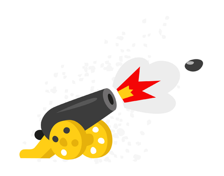 A cartoon cannon. Vector flat icon. Illustration isolated on white background.