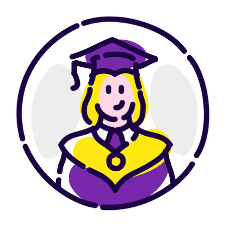 A student in a robes. Vector flat icon. 向量圖像