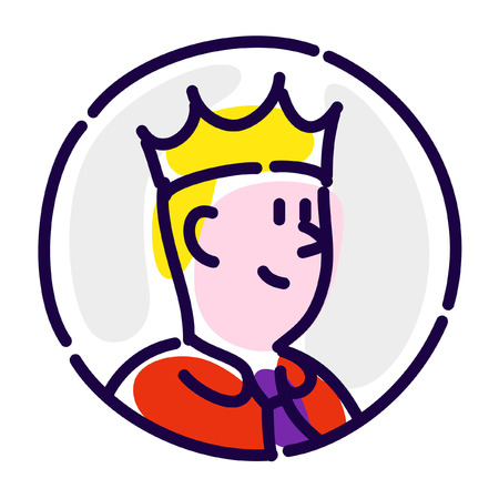 The man is the manager in the crown. Vector flat icon.