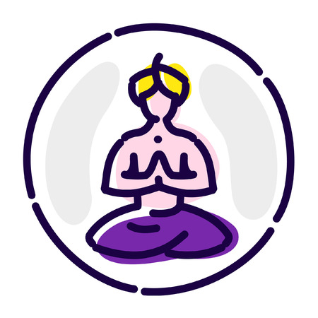 Yoga in the lotus position. Vector flat icon.