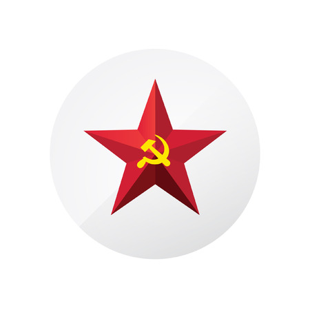 Red star with a sickle and a hammer. Symbol of the USSR and communism. Vector sign isolated on white background. A symbol of the Cold War. February 23. Symbol of the Armed Forces of the Soviet Union. Vettoriali