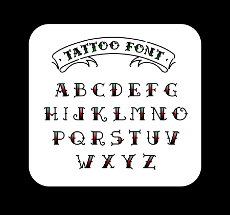 Font in the style of the old school tattoo alphabet for tattoos font in the style of the old school tattoo alphabet for tattoos contour letters altavistaventures Images