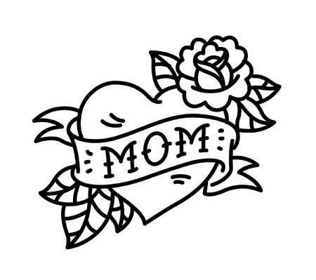 A tattoo with the inscription of Mom. A heart and flower tattoo with a flower. Tattoo in the style of the American old school. Vector flat tattoo. The illustration is isolated on a white background. Contour tattoo.