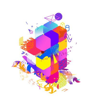 The style of abstract art, Suprematism, modern street art and graffiti. The design element is isolated on a white background, suitable for printing and web design. Geometric elements. Vector illustration.
