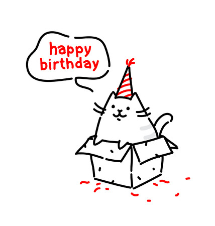 Cartoon funny cat, congratulates on his birthday. Vector flat illustration. The character is isolated on a white background. Kitty in the box. Cat's life. Character for the site and print postcards. Gift. Ilustração