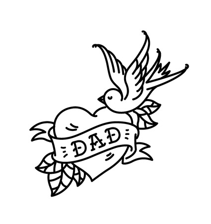 A tattoo with the inscription of Dad. Heart tattoo with a birdie. Tattoo in the style of the American old school. Raster flat tattoo. The illustration is isolated on a white background. Congratulation for the father. Stock Photo