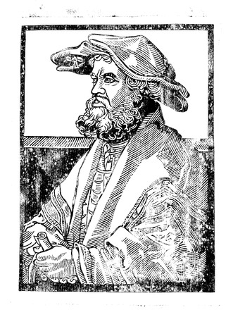 Woodcut. Portrait of a man in a hat. Medieval graphics. Graphic arts. High printing. Ancient engraving. Artifact. Vintage graphics.