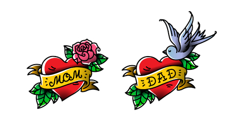 Tattoos with the inscription of Mom and Dad. Two hearts with a flower and a bird. Vector flat tattoo. Stock Illustratie