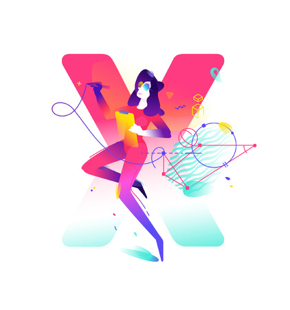 Illustration of a girl. Letter X on the background. Vector flat gradient illustration.