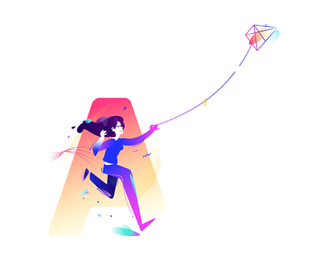 The girl is launching a kite. Start a new project, start-up. Character of a business lady. Vector illustration in a flat style.