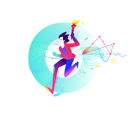 Competitions in school subjects. Illustration of a running young guy with a torch on the background of the letter O. Geometric figures. Vector flat illustration isolated on white background. Illustration