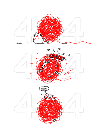 Cartoon funny cat on page 404. Vector flat illustration. The character is isolated on a white background. Cat with a ball of threads and a mouse. Funny kitty for the site and postcards. Illustration